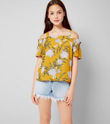 Teens Yellow Floral Print Cold Shoulder Top
