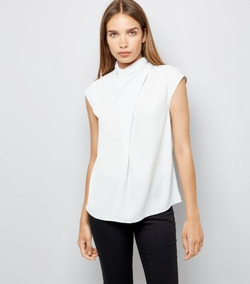 Pale Grey Wrap Neck Sleeveless Top