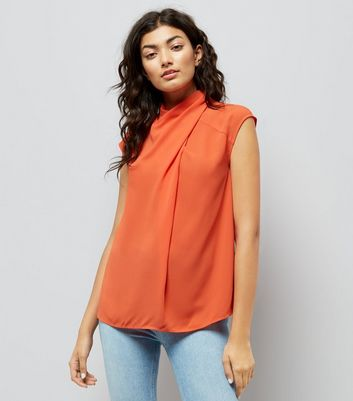 Orange Wrap Neck Sleeveless Top