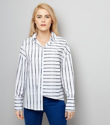White Stripe Deconstructed Hem Shirt