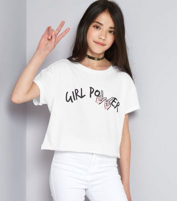 Teens White Girl Power Cropped T-Shirt
