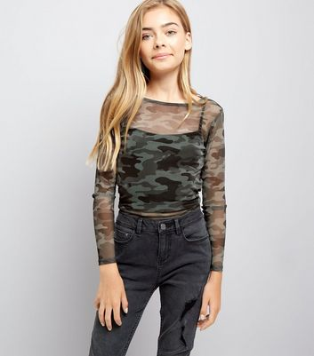 Teens Green Camo Print Sheer Top