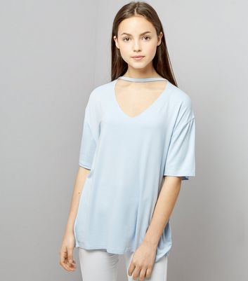 Teens Pale Blue Choker Neck Oversized T-Shirt