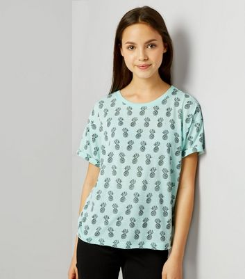 Teens Mint Green Pineapple Print T-Shirt