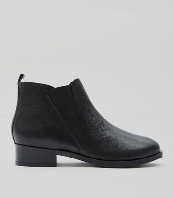 Black Leather Elasticated Side Chelsea Boots