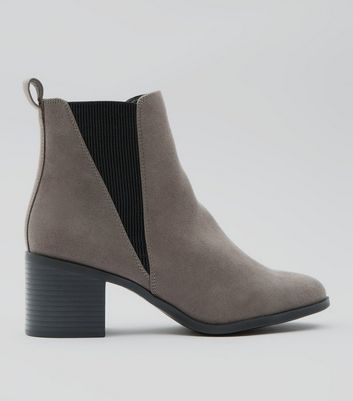 Grey Suedette Elasticated Side Ankle Boots