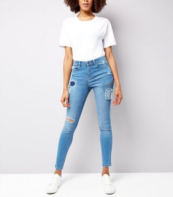 Urban Bliss – Blaue Skinny Jeans im Used-Look