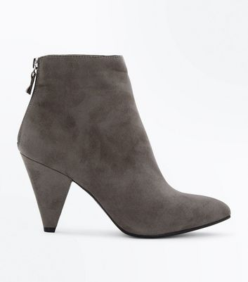 Grey Suedette Cone Heel Pointed Boots