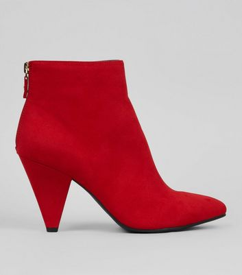 Red Suedette Cone Heel Ankle Boots