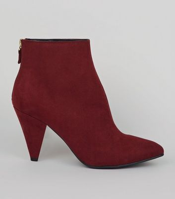 Red Suedette Cone Heel Pointed Boots