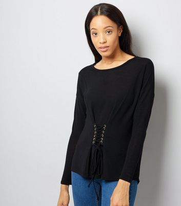 Blue Vanilla Black Corset Long Sleeve Top