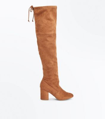 Tan Suedette Over The Knee Boots