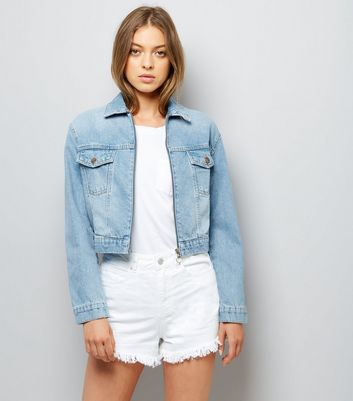Blue Denim Cropped Zip Front Jacket