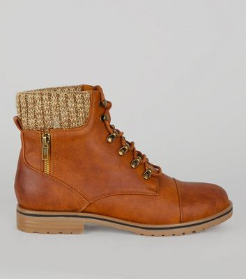 Tan Lace Up Knit Ankle Boots