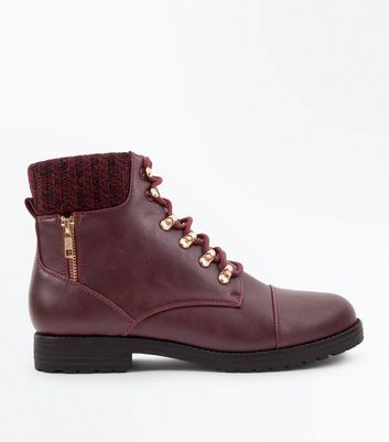 Burgundy Knit Cuff Lace Up Ankle Boots