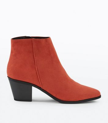 Red Suedette Western Ankle Boots