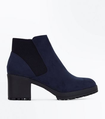 Navy Suedette Chunky Chelsea Boots