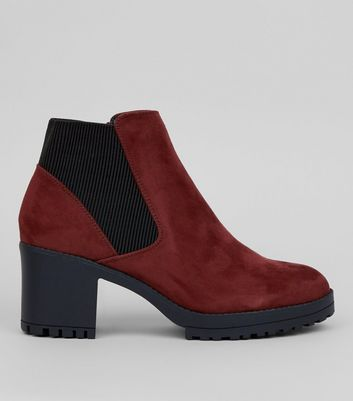 Burgundy Suedette Chunky Chelsea Boots