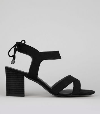 Black Ankle Tie Up Sandals