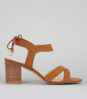 Tan Ankle Tie Up Sandals