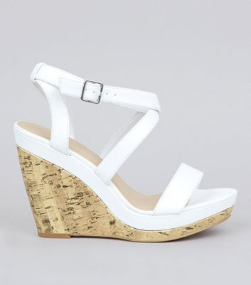White Multi Strap Wedge Sandals