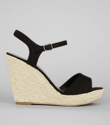 Black Wedged Espadrille Heeled Sandals