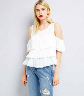 Blue Vanilla White Cold Shoulder Frill Tier Top
