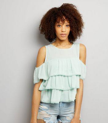 Blue Vanilla Mint Green Frill Trim Tiered Top
