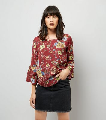 Blue Vanilla Red Floral Print Bell Sleeve Chiffon Top