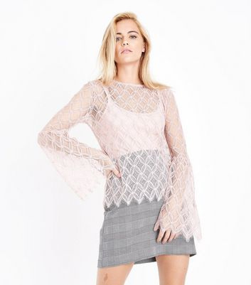 Blue Vanilla Pink Lace Bell Sleeve Top