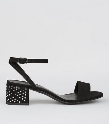Teens Black Embellished Block Heels
