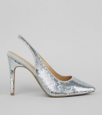 Wide Fit Silver Sequin Sling Back Heels