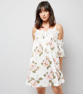 White Floral Print Lace Trim Cold Shoulder Swing Dress