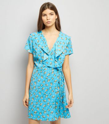 Blue Floral Print V Neck Frill Trim Wap Front Dress