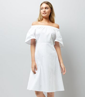 White Bardot Neck Midi Dress