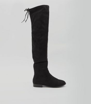 Black Suedette Over The Knee Boots