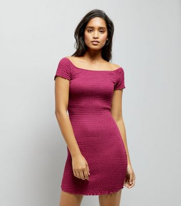 Deep Pink Shirred Bodycon Bardot Neck Dress