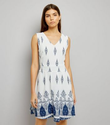 Mela White Abstract Print Dress