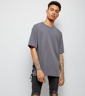 Dark Grey Lace Up Side T-Shirt