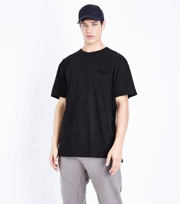 Black Pocket Front Boxy T-Shirt