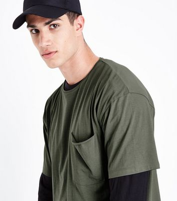 Olive Green Pocket Front Boxy T-Shirt