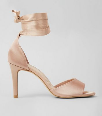 Wide Fit Nude Satin Tie Up Strappy Heels