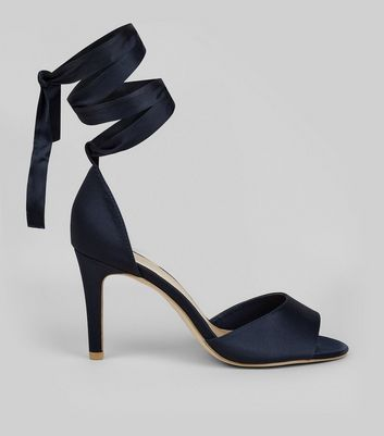 Wide Fit Navy Satin Ankle Tie Heels