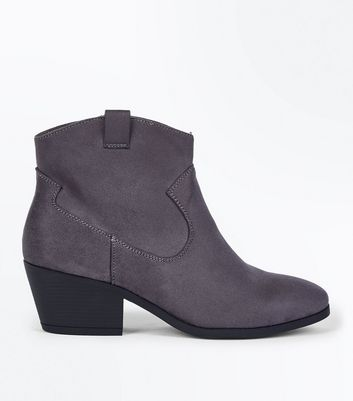 Wide Fit Grey Suedette Western Boots