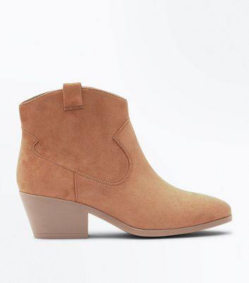 Wide Fit Tan Suedette Western Boots