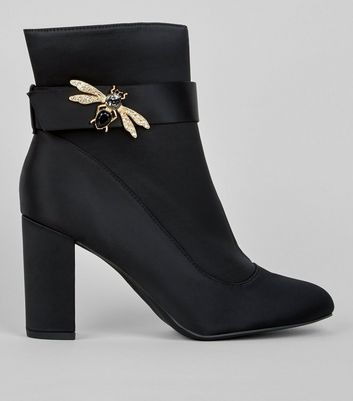 Wide Fit Black Satin Bee Embellished Boots