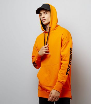 Orange Downfall Slogan Longline Hoodie