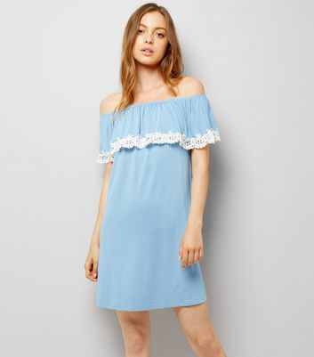 Blue Jersey Floral Crochet Trim Bardot Neck Dress