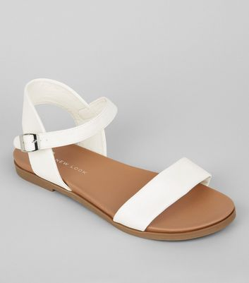 Wide Fit White Open Toe Sandals