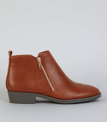 Tan Zip Side Ankle Boot